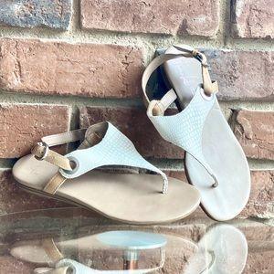 Franco Sarto ivory and tan sandals